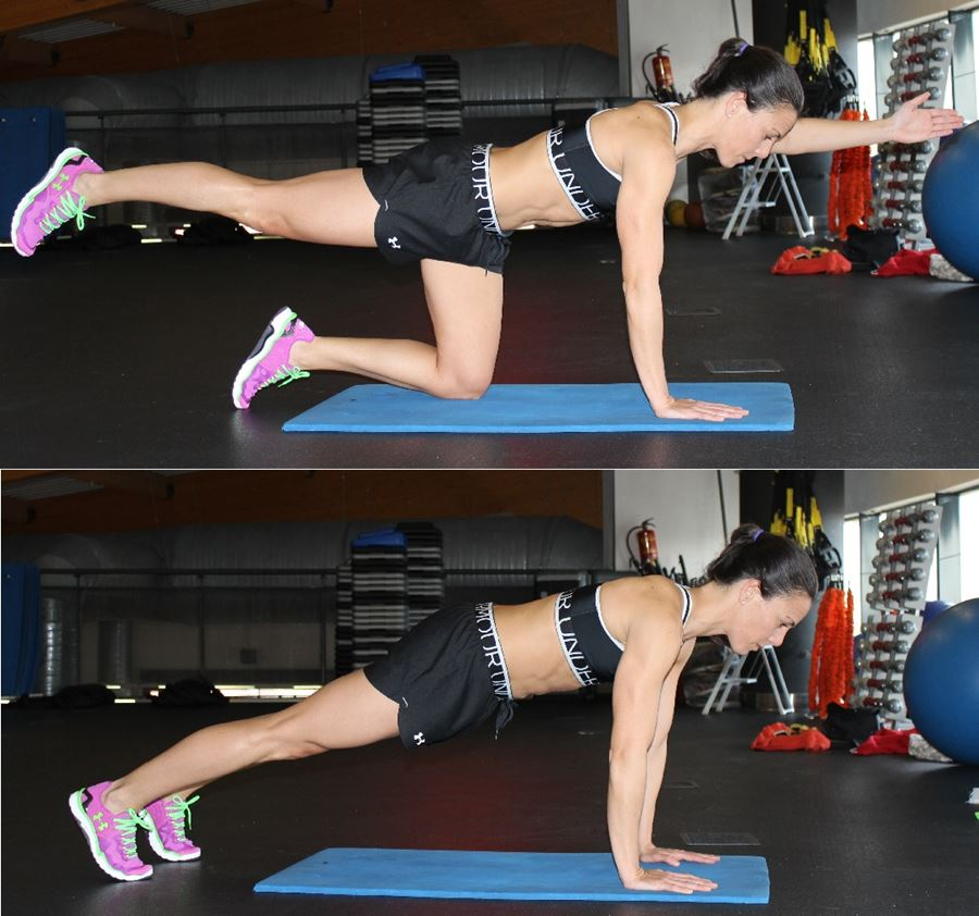 ejercicios abdominales plancha cuadrupedia